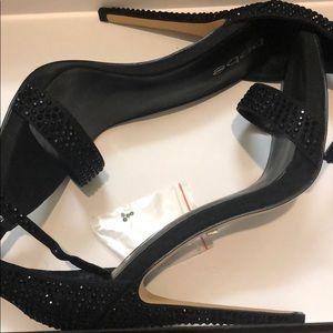 Black Glitter Heels - Ankle Strap Heels